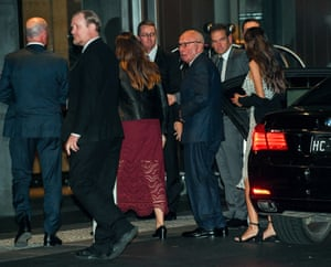Rupert Murdoch arrives at the News awards night with his son Lachlan Murdoch (second right) in Sydney on Wednesday.