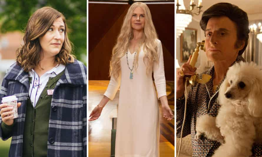 Celia Pacquola in Rosehaven, Nicole Kidman in Nine Perfect Strangers, and Michael Douglas in Behind the Candelabra.