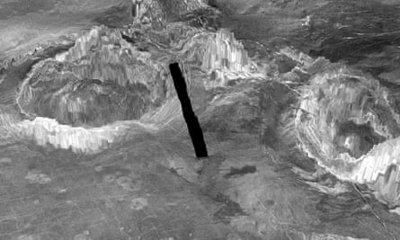 Two coronae on the surface of Venus which are formed when hot material from deep inside the planet rises through the mantle. The black line shows a gap in the imaging data.