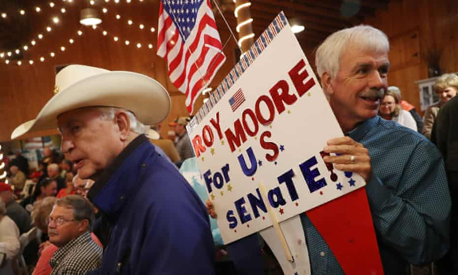Roy Moore supports in Fairhope, Alabama. The race has become a key battleground for Steve Bannon and his populist crusade.