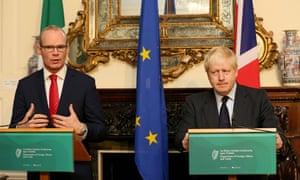 Ireland's foreign minister, Simon Coveney, with Boris Johnson in November 2017.
