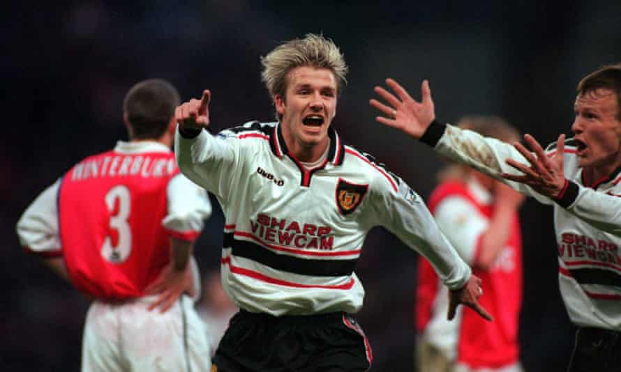 Manchester United's David Beckham celebrates scoring the first goal.