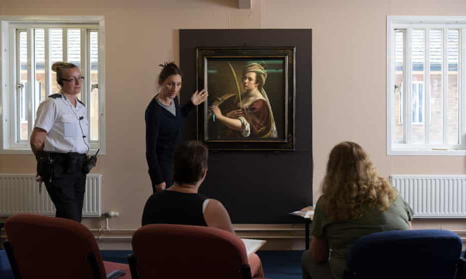 Inmates in Send Prison, Surrey, taking part in a workshop on Artemisia Gentileschi's painting