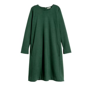 "Bottle green dress, £19.99, <a href=""http://www.hm.com/gb/product/20809?article=20809-A"">hm.com</a>."