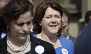 Maria Miller joins other MPs outside Parliament in London to show their support for Theresa May in July.