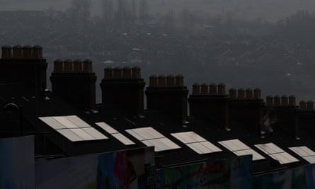 Domestic solar panels in Stoke-on-Trent, Britain.