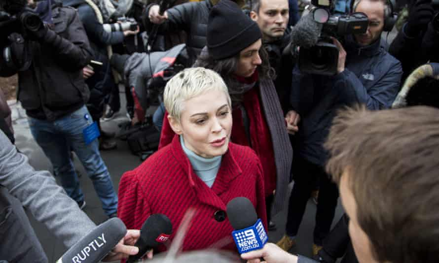 Rose McGowan in January outside the Manhattan courthouse where Harvey Weinstein was on trial.