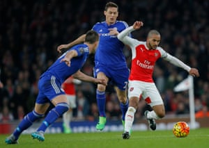Arsenal's Theo Walcott tries to attack the Chelsea goal.