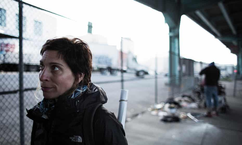 Leilani Farha after speaking with homeless man Eric Hoch under a freeway in San Francisco.