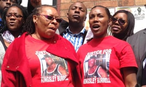 Supporters and family members of Kingsley Burrell, outside Birmingham coroner's court on Friday.