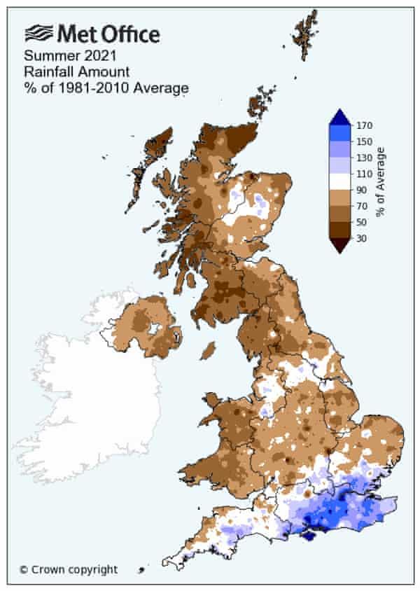 Rainfall in summer 2021