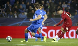 Alex Oxlade-Chamberlain scores the first of his two goals for Liverpool in their 4-1 win in Genk.