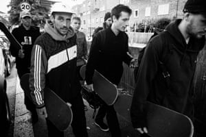 Palace Boys, Tottenham Hale, 2016, by Mike O'Meally. Magazines including SkateBoarder, Thrasher, Transworld, RaD [Read and Destroy] and Sidewalk, according to the show's curators, Jaime Marie Davis and Frankie Shea, were 'essential to circulating information about skateboarding and contributed to the international force it is today'