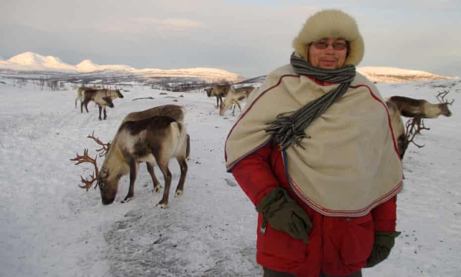 Johan Anders Oskal with some of his reindeer near Tromsø, Norway.