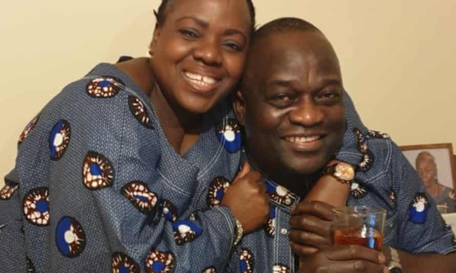 Belly Mujina with her husband, Lusamba Gode Katala, in a family photograph issued by her sister.
