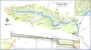 The Blanco River, by Molly O'Halloran, was created using pen, ink, and watercolor. The map's primary focus, inked and washed in blue, is the 84-mile twisting length of the Texas' Blanco River, including all its tributaries.