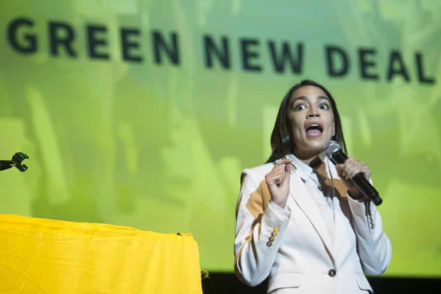 Alexandria Ocasio-Cortez addresses the Road to the Green New Deal Tour final event at Howard University in Washington, US, May 2019