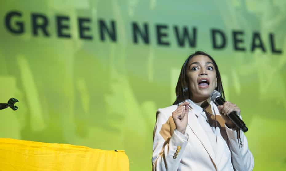 US politician Alexandria Ocasio-Cortez at a Green New Deal event in Washington DC, May 2019