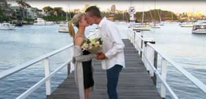 a screenshot from the Australian reality TV show Bride and Prejudice: The Forbidden Wedding. Courtney and Brad proposal