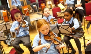 Young students at 'In Harmony' school in West Everton, Liverpool.