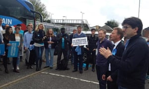 Mark Clarke's RoadTrip campaign, attended by Lord Feldman, right, and Grant Shapps, third from right .