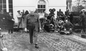 Winston Churchill, pictured wearing his one-piece 'siren suit' in 1942