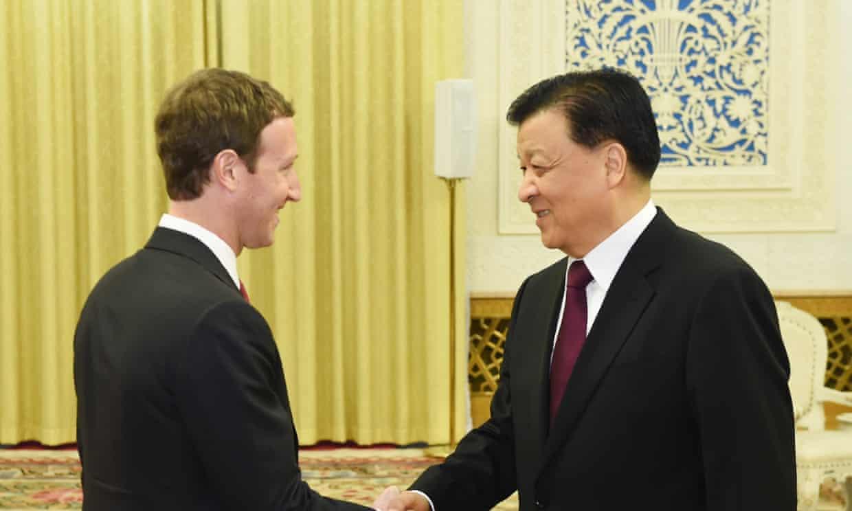 Mark Zuckerberg meets China's propaganda chief, Liu Yunshan, in Beijing.