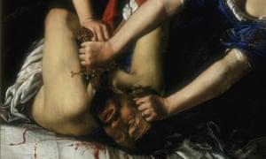 Vengeance in oil… détail de Judith et Holopherne de Gentileschi.