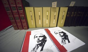 Books of French novelist Louis-Ferdinand Céine, during an auction marking the 50th anniversary of the writer's death at Paris Drouot auction house.