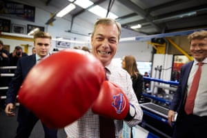 Bolsover, England Brexit party leader Nigel Farage spars with the media after making his first general election constituency campaign speech in a boxing ring at Bolsover boxing club