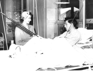 Princess Elizabeth visits a Red Cross hut for tuberculosis patients in 1951