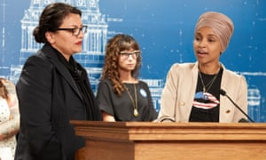 Rashida Tlaib and Ilhan Omar hold a press conference in St Paul, Minnesota, on 19 August.