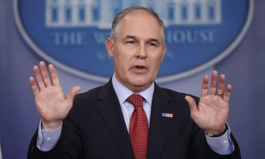 EPA Administrator Scott Pruitt speaks to the media during the daily briefing in the Brady Press Briefing Room of the White House in Washington. Even Pruitt won't touch the scientifically-sound Endangerment Finding.