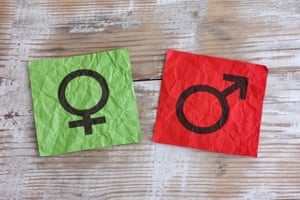 Crumpled green and red paper notes with gender symbols