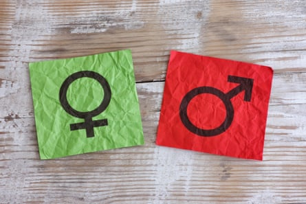 Crumpled green and red paper notes with gender symbols.