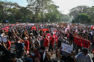 Thousands of people gathered in Yangon for a second straight day of demonstrations against the country's military.
