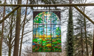 suspended stained glass panel, Forest of Dean.