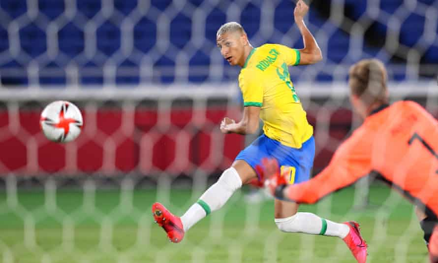 Richarlison scored a hat-trick for Brazil in their 4-2 win over Germany at Tokyo 2020.