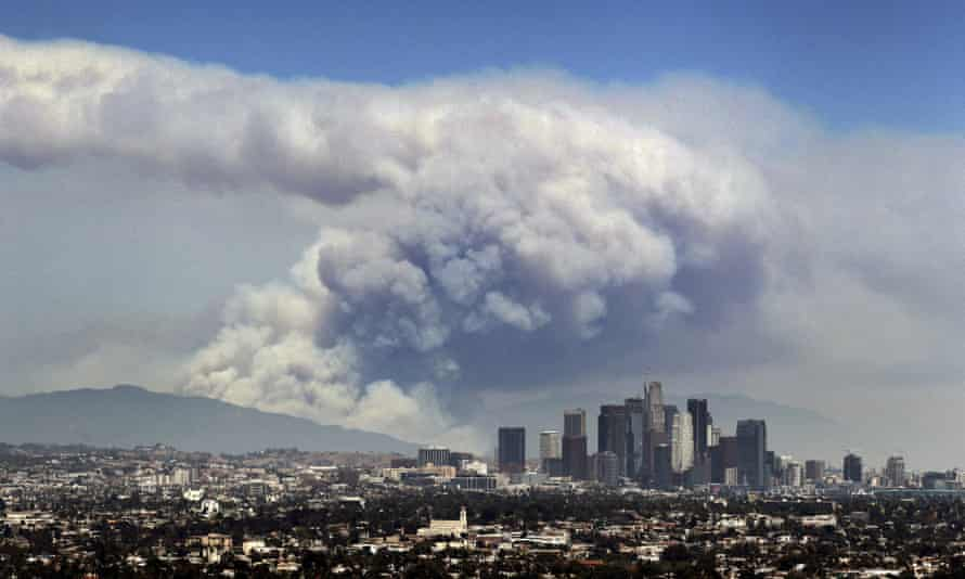 Smoke from wildfires is seen behind the Los Angeles skyline, in a picture from 2016.