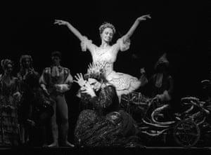 Monica Mason (Carabosse), kneeling, and Genesia Rosato (The Lilac Fairy) in The Sleeping Beauty