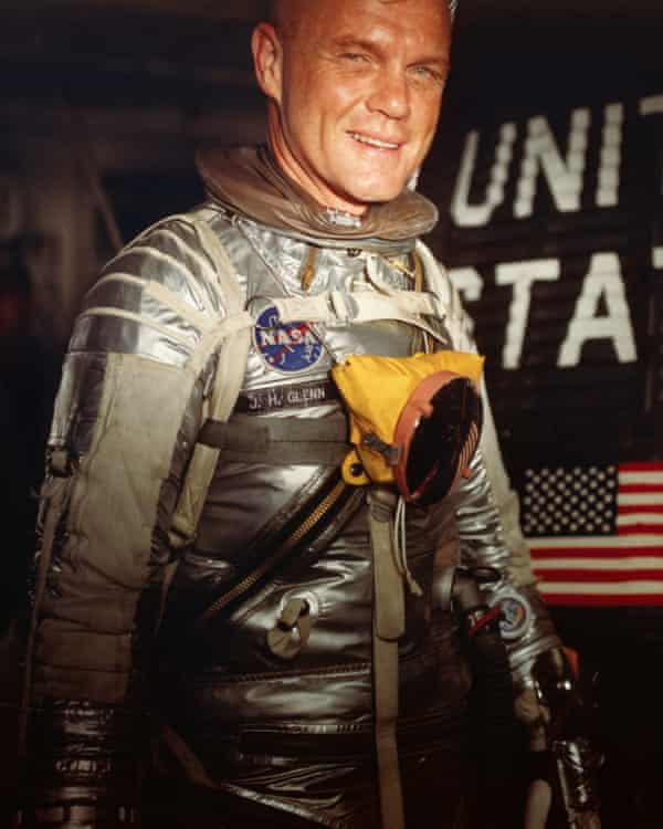John Glenn enters his Mercury 7 capsule for a test at Cape Canaveral.