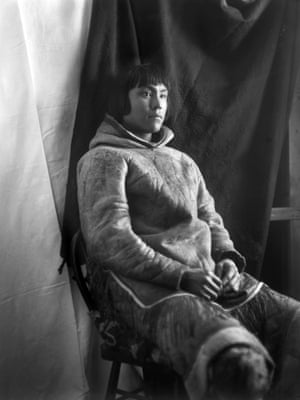 Inuit man, Kingnuck, of the Kinepetoo tribe, Fullerton Harbour, Nunavut, February 5, 1905, he is wearing a hide parka.