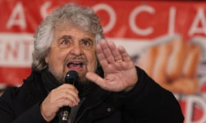 The Five Star Movement's founder Beppe Grillo addresses a rally in Torre del Greco, near Naples, last month.