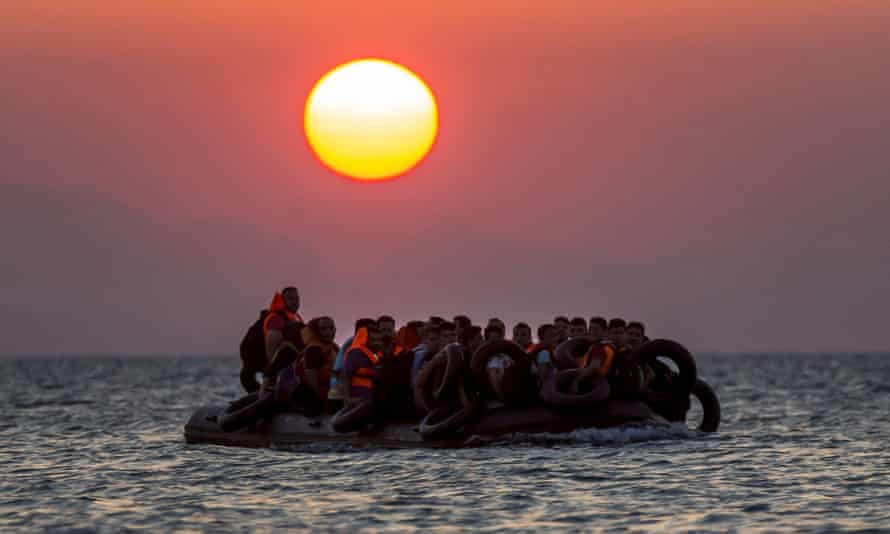 Migrants on a dinghy arrive at the Greek island of Kos from Turkey. EU rules on carrier liability mean airlines turn away refugees, forcing those trying to find sanctuary in Europe with little option but to risk the dangerous sea voyage.