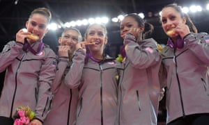 McKayla Maroney, Kyla Ross, Aly Raisman, Gabby Douglas and Jordyn Wieber at the 2012 Olympics.