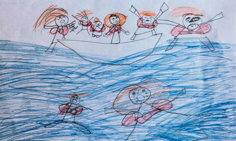 A drawing of a migrant ship by a child living in Moria refugee camp in Lesbos, Greece