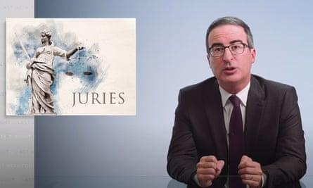 "John Oliver on trial juries in America: ""It's pretty clear that from how we decide who serves, to how the list is administered, to who we let lawyers select, we are making a mockery of the phrase 'a jury of your peers.'"""