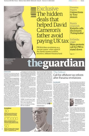 Guardian front page: 'Exclusive: the hidden deals that helped David Cameron's father avoid paying UK tax'