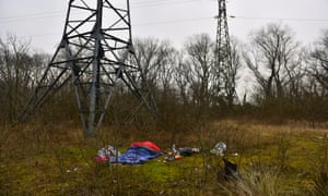 Evidence of rough sleeping on scrubland on the outskirts of Calais