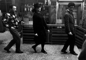 Claude Brasseur as Arthur, Anna Karina as Odile and Sami Frey as Frantz in Jean-Luc Godard's Band of Outsiders